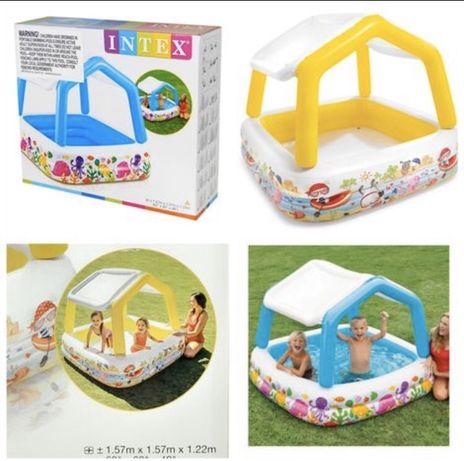 Детский надувной бассейн/ Крыша съемная 157-122 см / Intex 57470.
