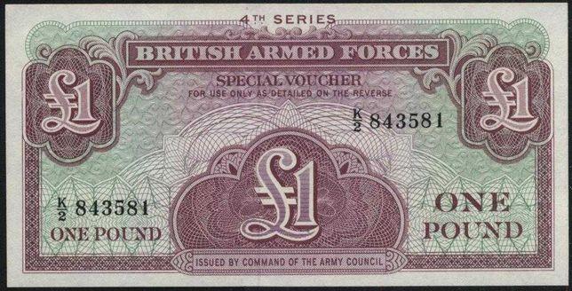 Банкнота 1 фунт. 1962 год , Великобритания. (Британская Армия).