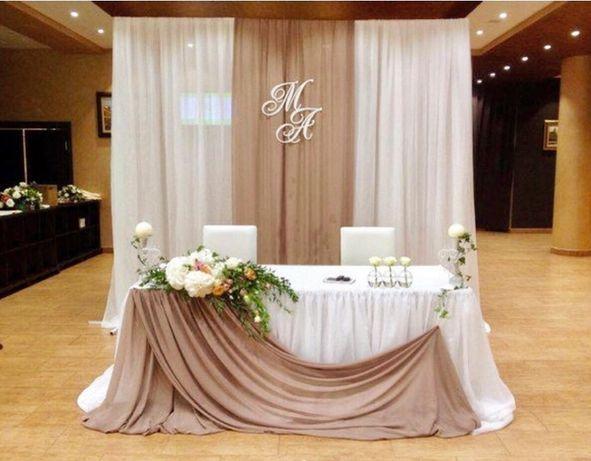 Оформление президиума молодых, украшение зала, свадебные украшения