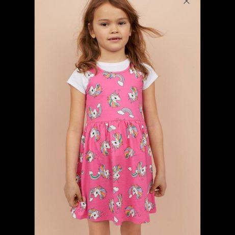 Летнее платье с единорогом на 4-6лет H&M