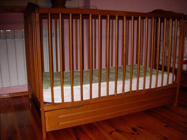 Łóżeczko dziecięce drewniane buk z szufladą
