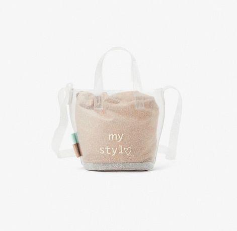 Zara winylowa torebka dziecieca listonoszka koszyk przezroczysty broka