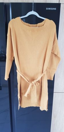 Musztardowa dzianinowa sukienka top secret 38/40