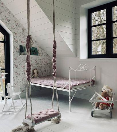 Huśtawka drewniana pikowana dziecięca do domu, pokoju