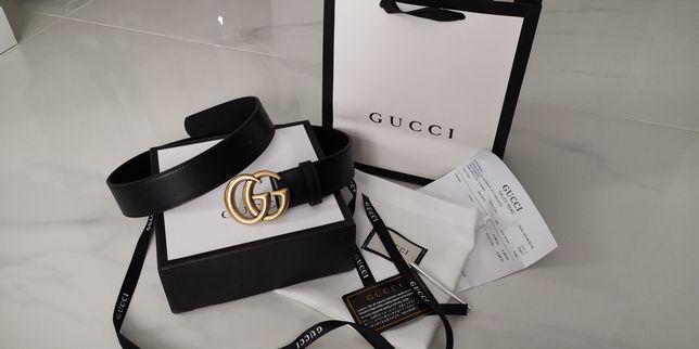 Od RĘKI WARSZAWA Pasek Gucci skóra naturalna czarny-złoty nowy zestaw