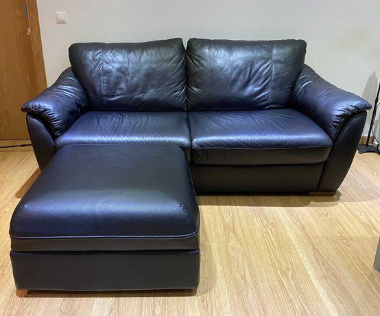 Liquidação total: Sofa Cama de Pele e Poltrona reclinável de Pele