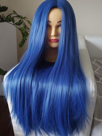 Peruka niebieskie włosy dla dziewczynki nastolatki ombre