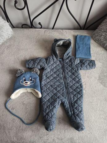 Kombinezon niemowlęcy chłopięcy 62-68 3-6 babyGap + czapka i szalik