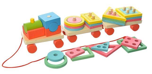 Железная дорога, поезд деревянный, каталка-пирамидка, паровозик