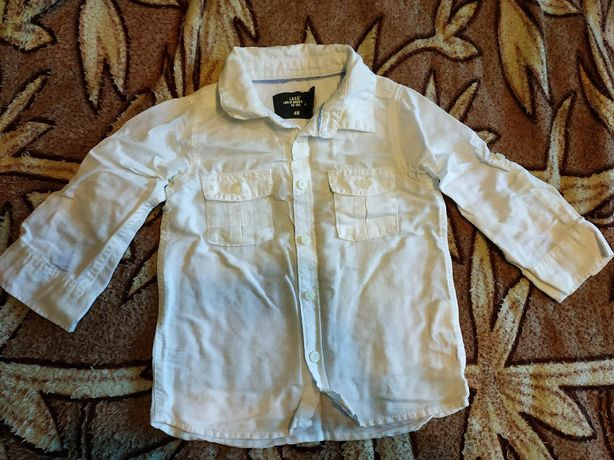 Рубашка H&M лён 9-12 месяцев