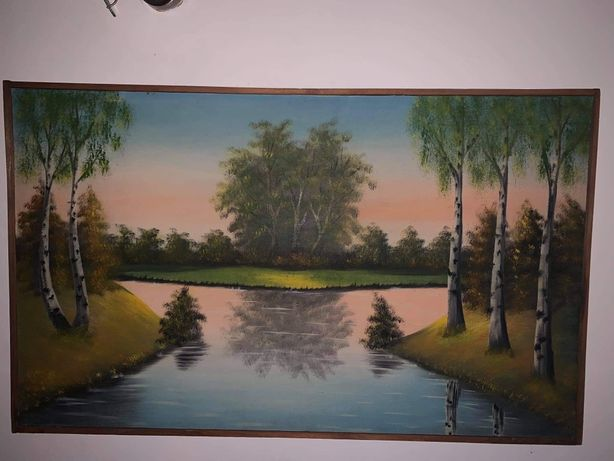 Stary obraz olejny krajobraz rozmiar 101x61