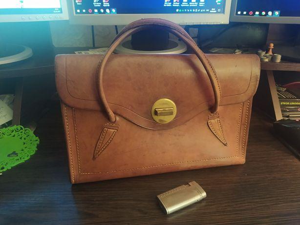 Кожаная шкіряна сумка чемоданчик, ретро винтаж раритет