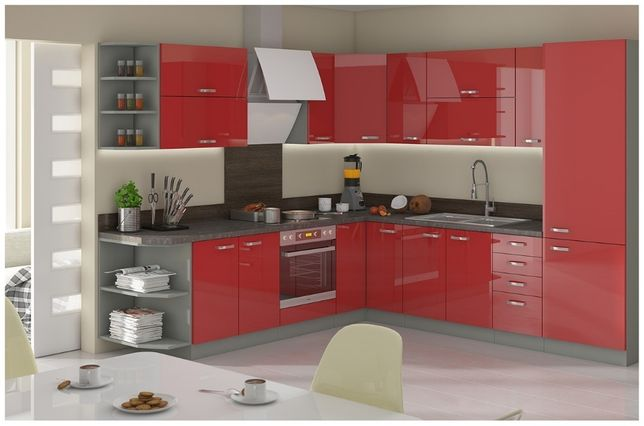 Kuchnia narożna RIGA wysoki połysk 4 kolory szafki kuchenne. cała PL