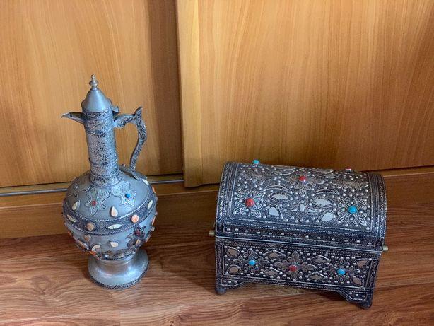 2 Peças Decoração Marroquinas - Baú e Jarro