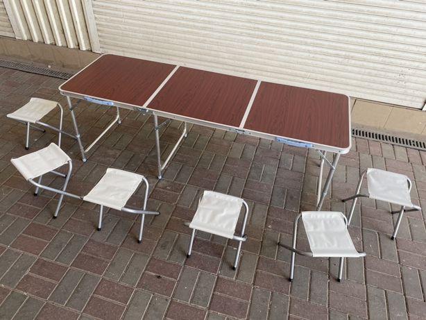 Стол для пикника 1.80 см + 6 стульев. Раскладной столик для рыбалки