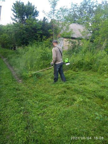 Покос травы, кустарников и обрезка срез порез деревьев и порезка дров.