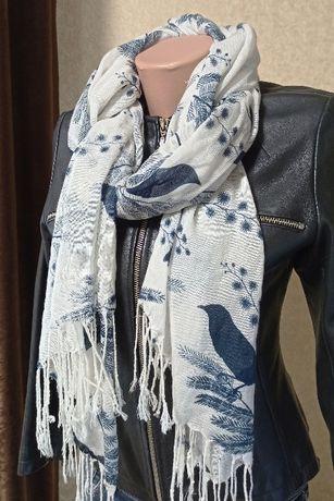 Красивый шарф, шарфик,палантин 180*65 птицы