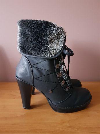 Zimowe buty ocieplane na obcasie