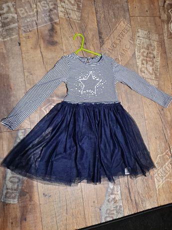 Sukienka na dl rekaw z tiulem dla dziewczynki