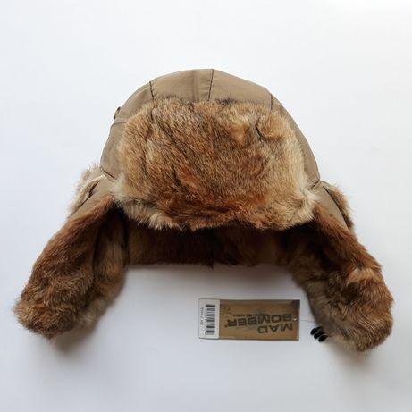 Новая шапка-ушанка на натуральном меху кролика