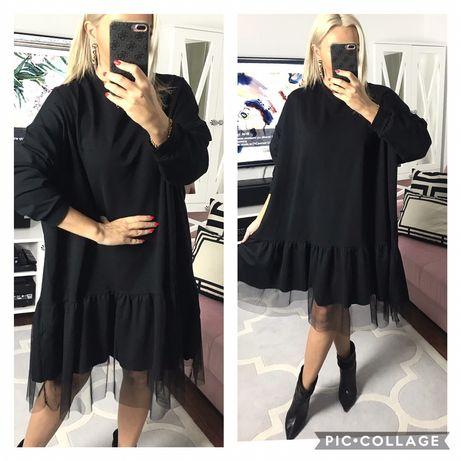 Włoska sukienka z tiulem  oversize  bawełna dobra na 46,48,50