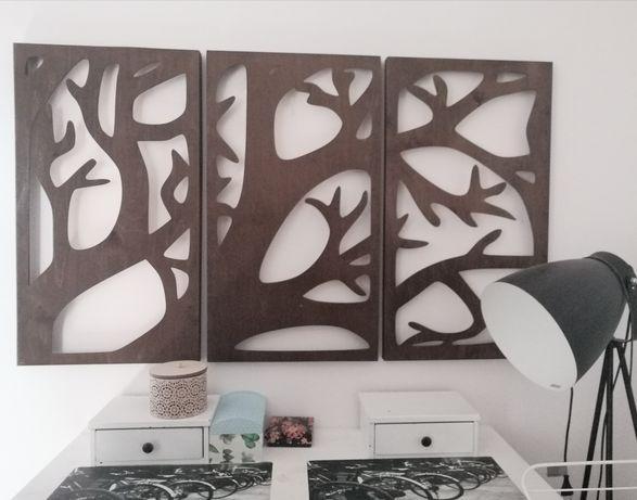 Drewniany tryptyk drzewo obraz