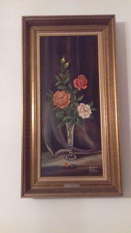 Obraz olej Róże Podłużny