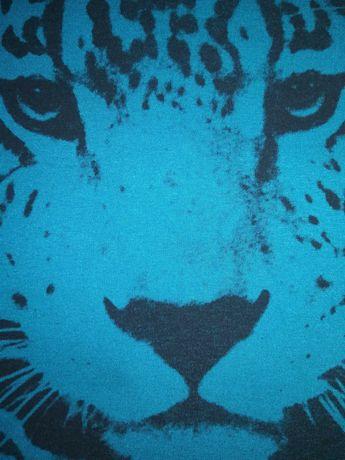 Bluzka tunika panterka niebieska asymetryczna r. Uniwersalny
