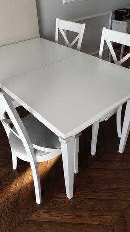 Biały stół drewniany rozkładany i 4 krzesła (BRW)