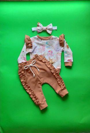 """Komplet komplecik dres dla dziewczynki r.68 (Nowy) """"Handmade"""""""