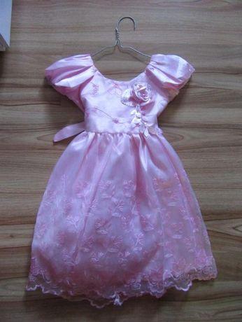 Rozowa sukienka satynowa do sypania kwiatow,hafty,okazjonalna,slub.
