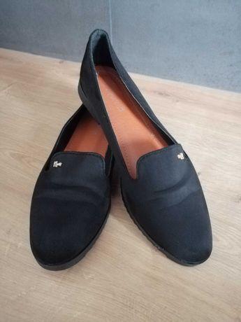 Czarne buty damskie mokasyny, baleriny