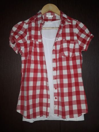 Koszula w kratę TROLL, r. M gratis biała koszulka