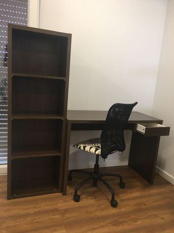 Conjunto Ikea secretária + estante + cadeira
