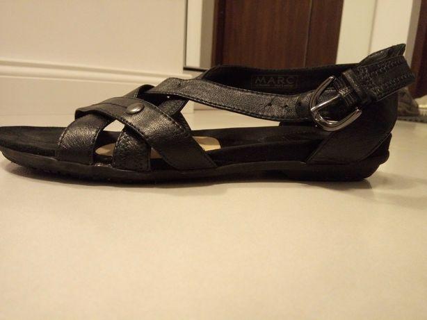 Sandały buty damskie 39 skóra naturalna czarne super szeroka stopa
