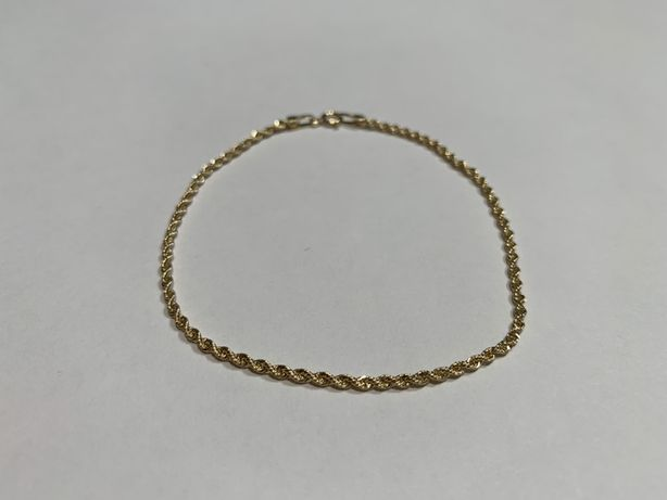 Złota 14k bransoletka korda 19 cm