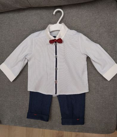 Garniturek do chrztu rozmiar 74+ GRATIS kamizelka i ocieplacz spodni