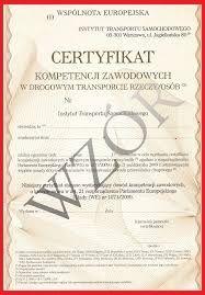 Certyfikat Kompetencji Zawodowych Licencja na przewóz Rzeczy /Osób CPC