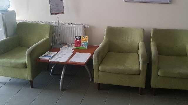 Okazja! Fotel alcantara zielony groszek