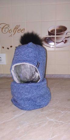 Хлопчача зимова шапка з хомутом