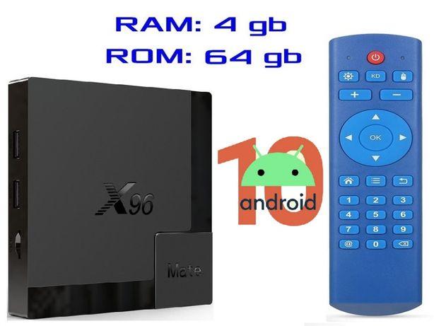 Гарантия X96 MATE 4gb 64gb на Андроид 10 Смарт ТВ приставка 2020 год