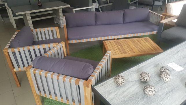 Zestaw wypoczynkowy ogrodowy paski sofa fotele stolik akacja