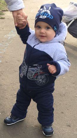 Дешево! Куртка-комбинезон на мальчика на 1-2 года зимняя. Состояние 5+
