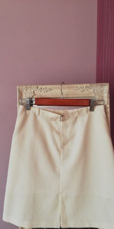 Vintage, biała, kremowa spódnica Zara z rozcięciem,rozporkiem,paskiem