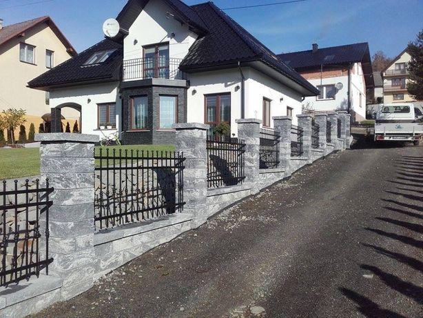 Ogrodzenia panelowe , betonowe z bloczków i siatki .
