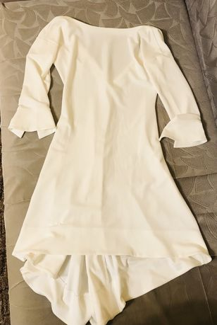 Женское белое вечернее платье с вырезом и шлейфом. Новое