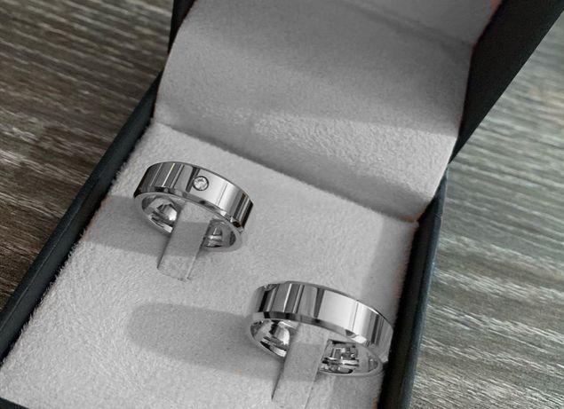 Wspaniały Komplet Srebrnych Obrączek Ślubnych Krystaliczna Cyrkonia