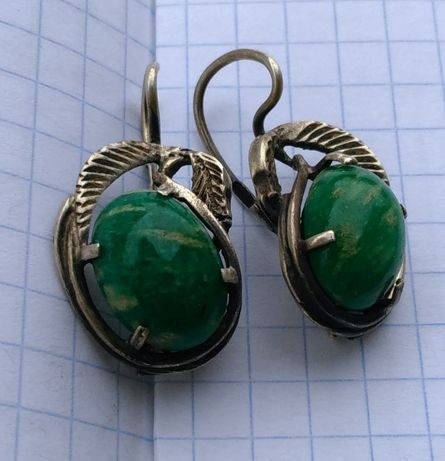 Серьги с камнями амазонит СССР серебро Ереван 916