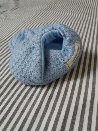 Buciki niechodki dziergane sesja ciążowa noworodkowa rekwizyt chrzciny