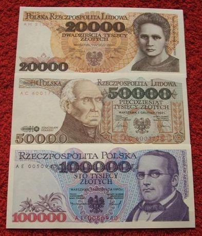 POLSKA PRL ZESTAW (3) Kolekcjonerskie Banknoty Zestaw - 3 sztuki UNC